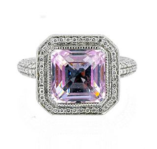 Judith Ripka 18K Solid White Gold Diamond 11ct Kunzite Pave Size 12 25