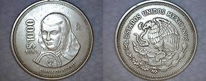 1989 Mexican 1000 Peso World Coin Juana de Asbaje