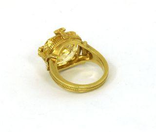 DESIGNER JUDITH RIPKA 18K GOLD DIAMONDS CITRINE LADIES GORGEOUS RING