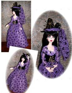 OOAK BLACK KATZ WITCH FOR EVANGELINE GHASTLY by Judy