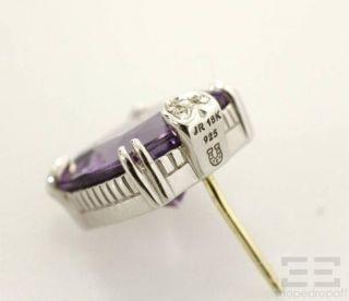 Judith Ripka Sterling Silver 18K Gold Amethyst Diamond Heart Earrings