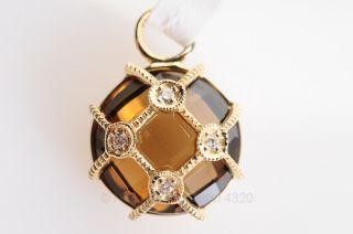 Jude Frances Gold 18K Diamond Latice Disc Cinnamon Topaz Single Earring Charm