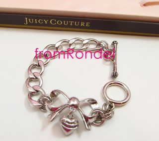authentic JUICY COUTURE Bow Heart Charm Starter Bracelet SILVER z509 new in box
