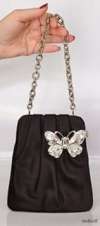 New $2295 Judith Leiber Black Satin Butterfly Bag Sale