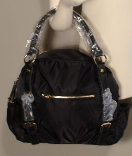 JPK PARIS 75 BLACK Stani Large Satin Satchel Bag Purse Tote Retails