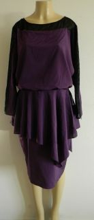 Julie Dillon New York Purple and Black Lace Tiered Dress Size 14 w