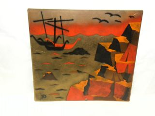 Enamel On Copper Painting Signed by Listed Artist Judith Daner c 1950