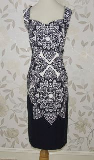Lovely BNWT Julien Macdonald Star  Black Abstract Print Dress