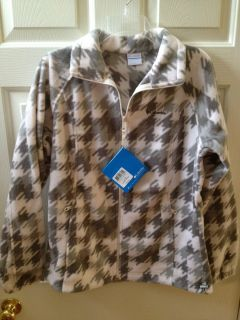 Columbia June Lake Fleece Jacket Houndstooth White Gray Womens Sizes M