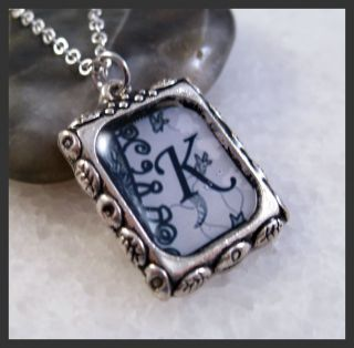 Initial Letter K Silver Square Setting Charm Pendant Necklace