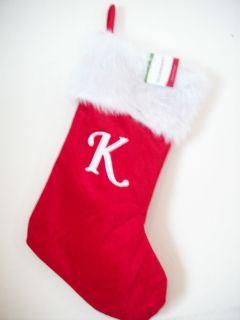 Monogrammed Christmas Stocking Letter K Personalized Xmas Decoration