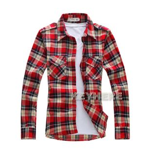 New Red Green Men Long Sleeve Best Collection Western Grid Pattern