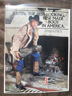 Ad Justin Western Cowboy Boots Steve Kanaly from Dallas TV Show