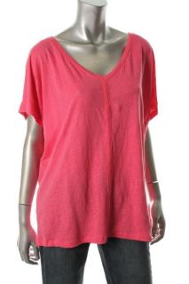 Eileen Fisher NEW Pink Linen V Neck Ribbed Trim Slouchy Pullover Top