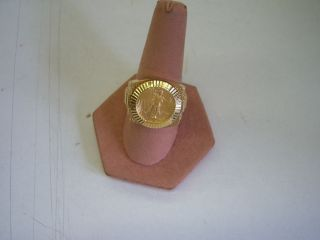 men 14kt gold rolex mount ring with a 1 10oz liberty 5 dollar coin 16