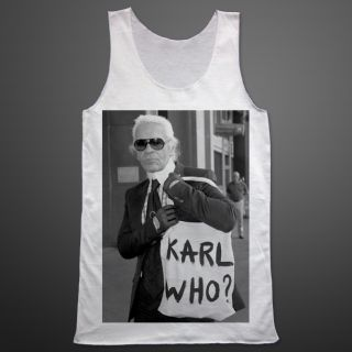 KARL LAGERFELD Who Karl Creative Designer T shirt Tank Top Sleeveless