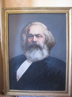 RUSSIAN PAINTING OIL PORTRAIT COMMUNIST KARL MARX in frame 1960 years