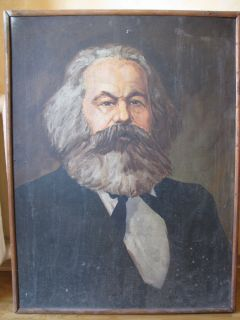 Russian Painting Oil Portrait Communist Karl Marx 60s in Frame