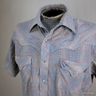KARMAN Western Pearl Snap Shirt LARGE Plaid Check Vtg Mens Cowboy