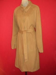 Donna Karan DKNY Ultra Soft Wool Cashmere Angora Belted Camel Coat XL