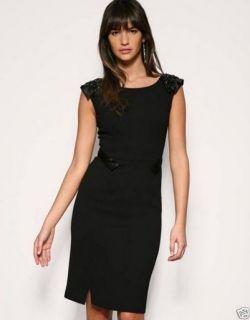Karen Millen Black Embellished Shoulder Structured Pencil Dress 6 8 12