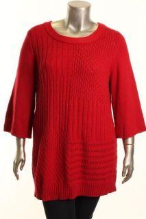 Karen Scott New Red Boat Neck Tunic Sweater Plus 1x BHFO