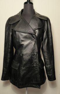 Katharine Hamnett Double Breasted Black Leather Jacket Size M