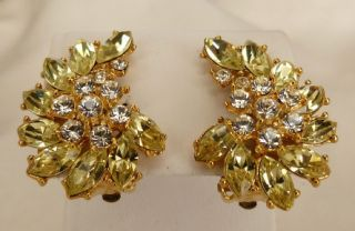 Designer Jarin Kasi Sparkling Yellow Clear Rhinestone Earrings