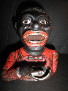 Old Original Cast Iron Jolly N Black Man Mechanical Penny Bank by