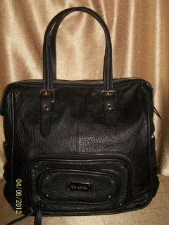 Kate Landry Extra Large Black Leather Shoulder Satchel Tote Bag Purse