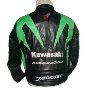 Kawasaki Motorcycle Jacket Bikers Racing Jacket PU Leather Black and