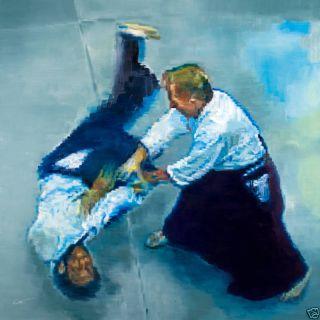 KEATING Original Art MARTIAL ARTS AIKIDO Oil Painting PIXEL