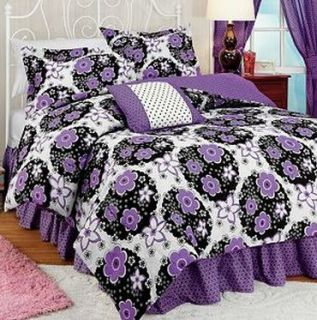 Purple White Black Floral Flower Katie Polka Dot Twin Comforter Set