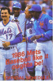 1986 Mets Schedule Gary Carter Keith Hernandez Gooden