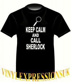 Keep Calm and Call Sherlock Holmes Funny Boys Mens T Shirt SM 3XL Gift