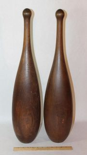 Rare Pr 19thC Antique Signed S D Kehoe 15lb Wood Exercise Indian Clubs