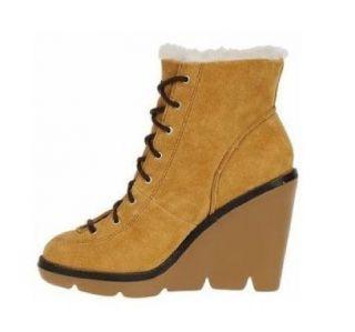 NEW MICHAEL KORS Berkshire Brown Tan Wedge Heel Shearling Fur Ankle