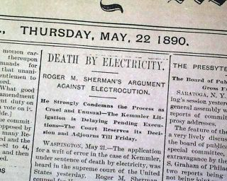 WILLIAM KEMMLER 1st Electric Chair Execution & JESSE JAMES GANG 1890