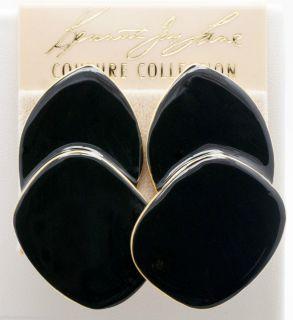 Kenneth Jay Lane Couture Goldtone Black Enamel Layered Clip on