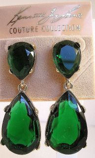 Kenneth Jay Lane Emerald Color Crystal 22K Gold Plated Teardrop