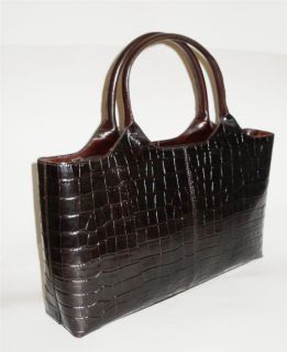 KENNETH COLE New York Leather Handbag Brown Croco Tote MED 15 L x 9 H