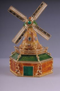 Faberge Windmill trinket box by Keren Kopal Swarovski Crystal Jewelry