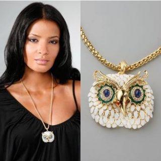 WOW Owl New Kenneth Jay Lane KJL Style Owl Necklace