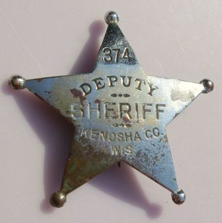 Deputy Sheriff Kenosha Co Wisconsin Badge w Makers Mark