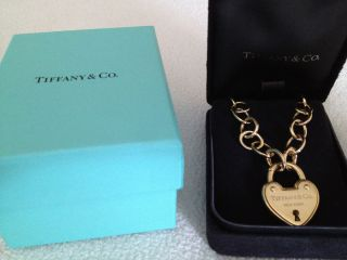 Tiffany Co 18K Yellow Gold Heart Lock Bracelet Necklace Chain