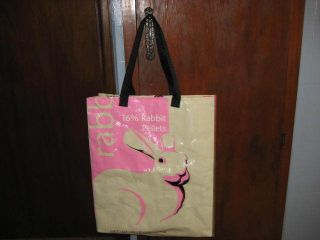 Reusable Recyle Eco friendly shopping tote bag. Recycled Rabbit feed