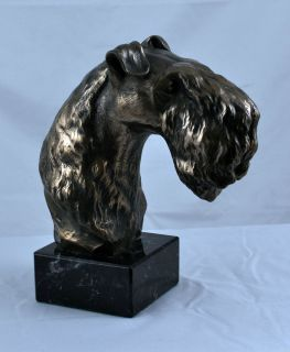 Kerry Blue Terrier on marble statue figurine sculpture head Cold Cast