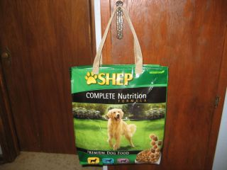Reusable Recyle Eco friendly shopping tote bag. Recycled Shep Dog Food