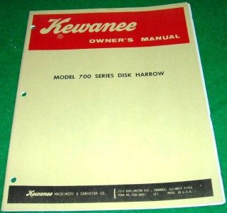 Kewanee Owners Manual Model 700 Series Disk Harrow