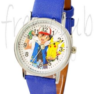 Pokemon Pikachu Ash Ketchum Blue Satin Wrist Watch